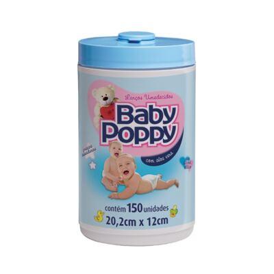 Lenço Umedecido Baby Poppy Azul 150 Unidades