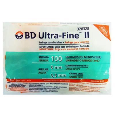 Seringa para Insulina BD Ultra Fine II Agulha Curta (Seringa de 1 mL c/ Agulha de 8mm x 0,3mm) 10 Unidades