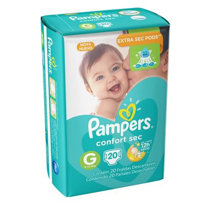 Fralda Pampers Confort Sec G 20 unidades