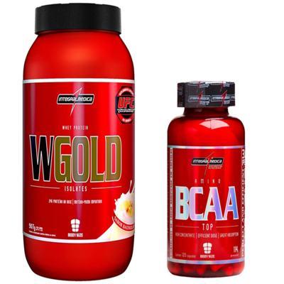 COMBO WGOLD WHEY 900G MORANGO + BCAA TOP 120CAPS INTEGRALMEDICA .