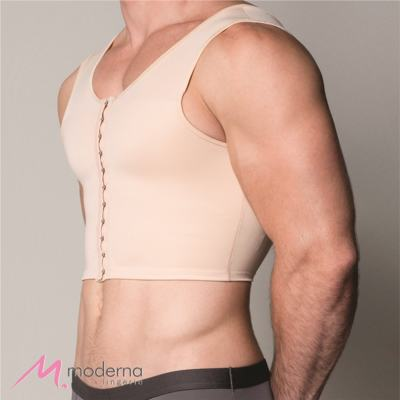 Imagem 2 do produto Corpete Masculino Curto com Abertura Frontal Ref 3306 Cinta Moderna - Corpete Masculino Curto Ref 3306 Moderna Bege GG