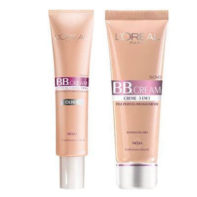 BB Cream L'oréal Paris - Kit BB Cream 5 em 1 FPS20 50ml Escura + BB Cream Olhos 15ml Média - Kit