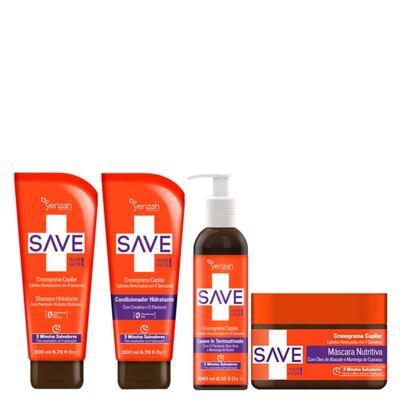 Kit Shampoo + Condicionador + Creme de Pentear + Máscara Yenzah Save Cronograma Capilar - Kit