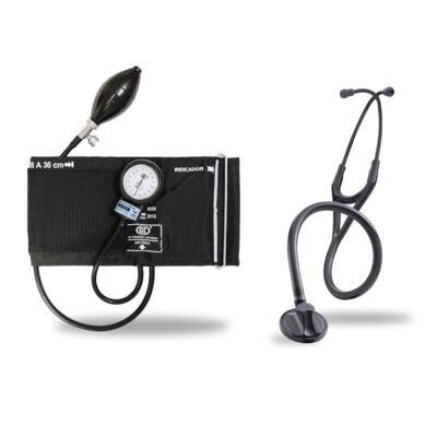 Imagem 1 do produto Kit Esteto Littmann Master Cardiology Preto Smoke Finish com Aparelho de Pressão Bic Preto - Kit Esteto Littmann Master Cardiology Preto com Aparelho de Pressão Bic Preto