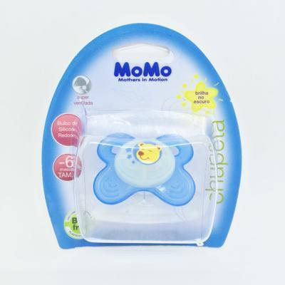 Chupeta Momo Brilha no Escuro Silicone Redondo Azul 0 - 6 meses Tam 1