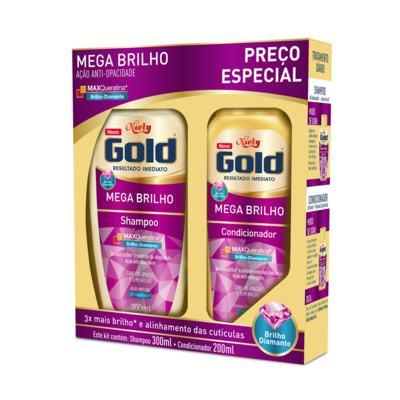 Kit Niely Gold Shampoo+Condicionador Mega Brilho Maxqueratina - Opacos E Sem Brilho | 200/500ml | 2 unidades