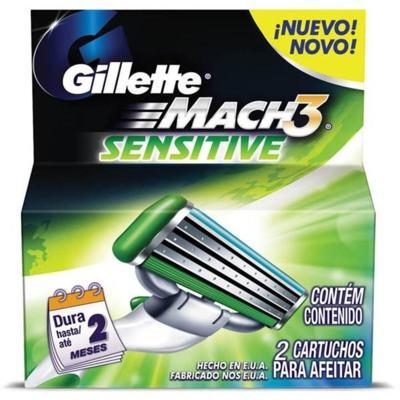 Imagem 1 do produto Carga para Aparelho de Barbear Gillette Mach3 Sensitive 2 unidades