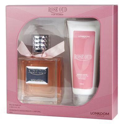 Imagem 1 do produto Rose Oud Lonkoom - Feminino - Eau de Parfum - Perfume + Hidratante Desodorante Corporal - Kit