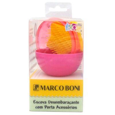 Escova de Cabelo Infantil Desembaraçante Marco Boni Com Porta Acessórios Rosa