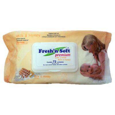 Imagem 1 do produto Fresh'N Soft com Creme Milk & Honey Fresh'N Soft - Lenços Umedecidos para a Pele do Bebê - 72 Un