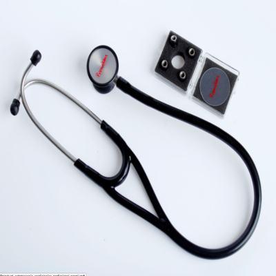 Kit Esteto Cardiológico Preto com Aparelho de Pressão Vermelho Premium