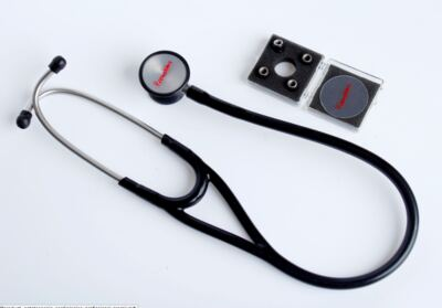 Kit Esteto Cardiológico Preto com Aparelho de Pressão Vinho Premium