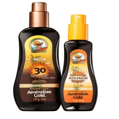 ba01e2dbea Australian Gold Kit Instant Bronzer Spray FPS 30 237ml + Accelerator Dark Tanning  Spray 125ml
