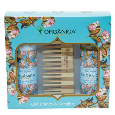 Imagem 1 do produto Chá Branco & Gengibre Orgânica - Kit Loção Hidratante 100ml + Sabonete Líquido 100ml + Pente - Kit