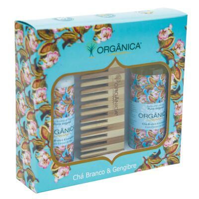 Imagem 3 do produto Chá Branco & Gengibre Orgânica - Kit Loção Hidratante 100ml + Sabonete Líquido 100ml + Pente - Kit