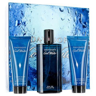 Cool Water Davidoff - Masculino - Eau de Toilette - Perfume + Gel de Banho + Pós Barba - Kit