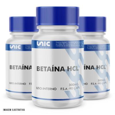 Imagem 1 do produto Kit 3 Betaina HCL 300mg 90 Cápsulas