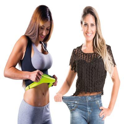 Imagem 1 do produto Fitnow T-Shirt Polishop - Feminino + Calça Modeladora Lejeans - 2 Unidades (1 Vintage + 1 Azul) - | G
