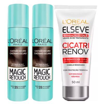 Imagem 1 do produto L'Oréal Paris Magic Retouch + Cicatri Renov Kit - Leave-In + 2 Corretivos Capilar Castanho Escuro - Kit
