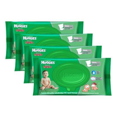 Imagem 1 do produto Kit 4 Lenços Umedecidos Huggies Aloe Vera 192 Unidades