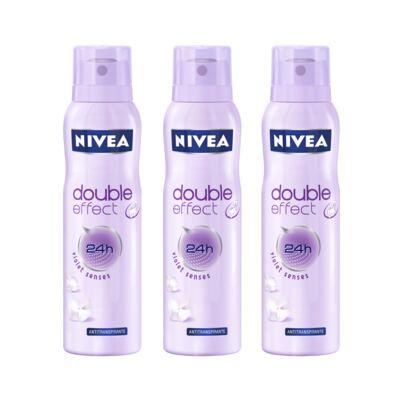 Imagem 1 do produto Desodorante Aerosol Nivea Feminino Double Effect 150ml 3 Unidades