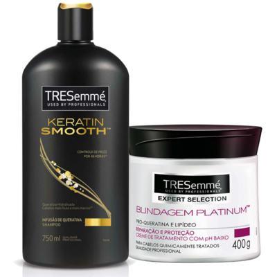 Imagem 1 do produto Kit Shampoo Tresemmé Keratin Smooth 750ml + Creme de Tratamento Capilar Tresemmé Blindagem Platinum 400g