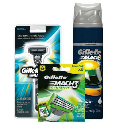 Imagem 1 do produto Kit Gillette Aparelho Barbeador Mach3 + Espuma de Barbear Mach3 Sensitive 245g + Carga Mach3 Sensitive 6 Unidades