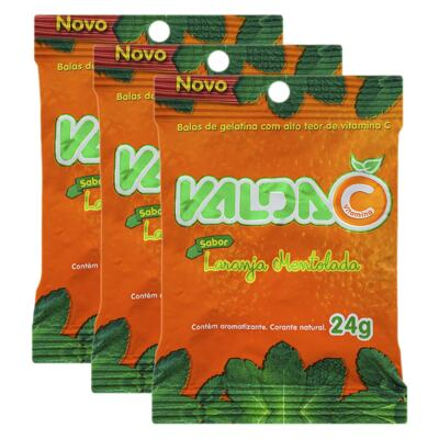 Imagem 1 do produto Kit Balas de Gelatina Valda C Laranja Mentolada 24g 3 Sachês
