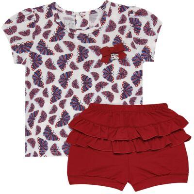 Imagem 1 do produto Blusinha c/ Shorts frufru para bebe em viscolycra Butterflies - Baby Classic - 21001628 BLUSINHA M/C COM SHORTS VISCOLYCRA BUTTERFLY-M