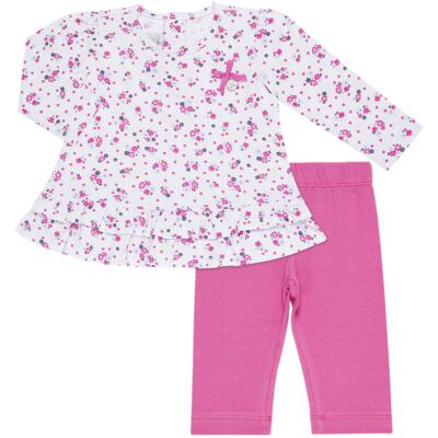 Bata longa com Legging  para bebe em cotton Tropical - Vicky Lipe - 18520001.53 CONJ.BATA C/LEGGING - COTTON-M