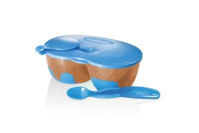 Imagem 1 do produto Prato Fundo com Divisória E Colher Funny Meal Azul Multikids Baby - BB053