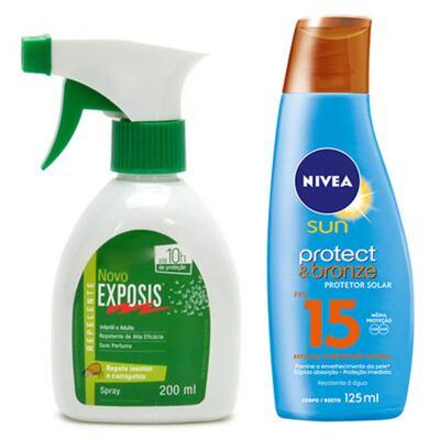 Imagem 1 do produto Repelente Exposis Spray 200ml + Protetor Solar Sundown Gold Spray FPS 15 200ml