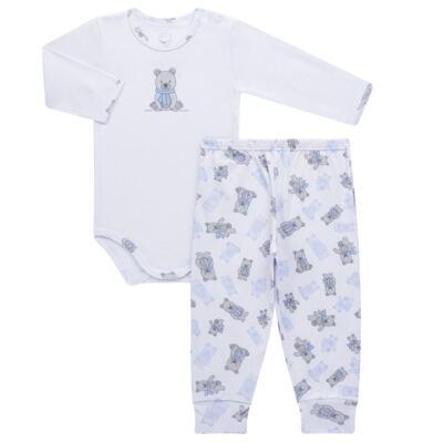 Imagem 1 do produto Body longo c/ Calça para bebe em algodão Ursinho - Dedeka - DDK17647/E176 CONJUNTO DE BODY RIBANA URSINHO-RN