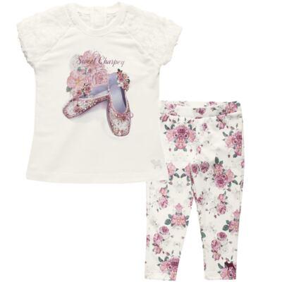 Imagem 1 do produto Blusa com Legging para bebe em cotton Ballerina Camelli - Charpey - CY14729.138 CONJ. BLUSA C/ LEGGING OFF WHITE -M