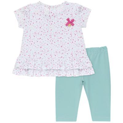 Imagem 1 do produto Bata com Legging para bebe em cotton Aqua Flower - Vicky Lipe - 8341363 CONJ. BATA COM LEGGING COTTON ELEFANTINHO 2-P