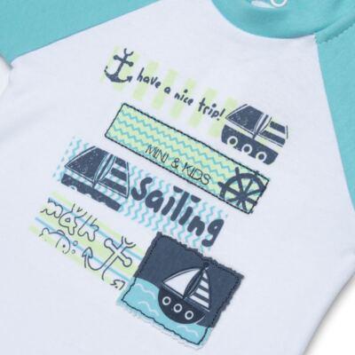 Imagem 3 do produto Body curto com Bermuda em algodão egípcio c/ jato de cerâmica e filtro solar fps 50 Little Boat - Mini & Kids - CBRB1747 CONJ. BODY C/BERMUDA SUEDINE NAVY-G