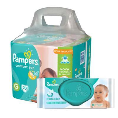 Imagem 1 do produto Kit Pampers Fralda Descartável Confort Sec G 70 Unidades + Lenço Umedecido Fresh Clean 48 Unidades
