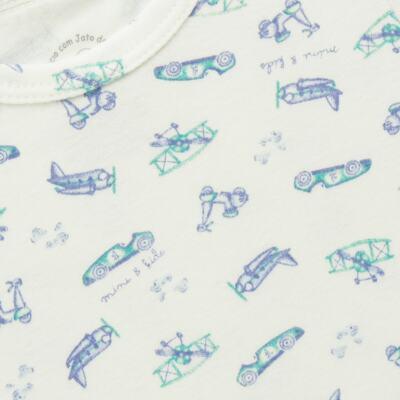 Imagem 2 do produto Body curto para bebe em algodão egípcio c/ jato de cerâmica e filtro solar fps 50 Race Pilot - Mini & Kids - BDMC0002.80 BODY MANGA CURTA- SUEDINE TRANSPORTE-G
