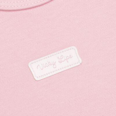 Imagem 3 do produto Body curto com Shorts para bebe em suedine Rosa - Vicky Lipe - CSH1376 CONJ. BODY M/C C/ SHORTS SUEDINE ROSA BB-3