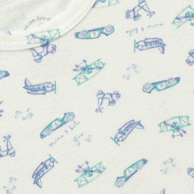 Imagem 2 do produto Body curto para bebe em algodão egípcio c/ jato de cerâmica e filtro solar fps 50 Race Pilot - Mini & Kids - BDMC0002.80 BODY MANGA CURTA- SUEDINE TRANSPORTE-P