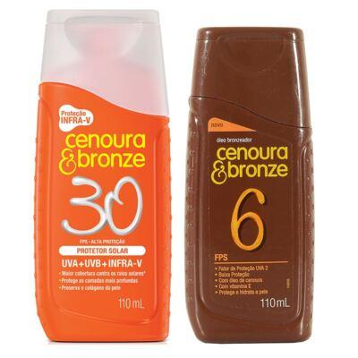 Imagem 1 do produto Protetor Solar Cenoura & Bronze FPS 30 200ml + Óleo Bronzeador FPS 6 110ml