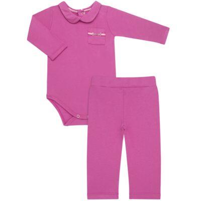 Imagem 1 do produto Body longo com Calça para bebe em viscomfort Pink - Baby Classic - 19051271 BODY C/ GOLA E CALÇA VISCOMFORT GARDEN-GG