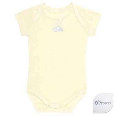 Imagem 1 do produto Body curto para bebe em suedine Baby Protect Amarelo - Mini & Kids - BDTC1736 BODY M/C TRANSP. SUEDINE AMARELO-GG