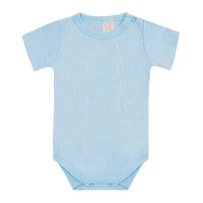 Imagem 1 do produto Body curto canelado para bebe Azul - Pingo Lelê - PL9001-AZ BODY MANGA CURTA AZUL-G