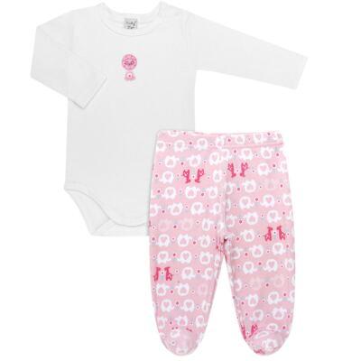 Imagem 1 do produto Body longo com Calça (mijão) para bebe em suedine Little Cute - Vicky Lipe - CEL1362 CJ. BODY ML C MIJÃO SUEDINE ELEFANTINHO-P