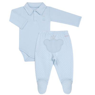 Imagem 1 do produto Body longo com Calça (mijão) em suedine Azul Matelassê - Grow Up - 01020218.0003 CONJ. PG BEAR FRIEND AZUL-P