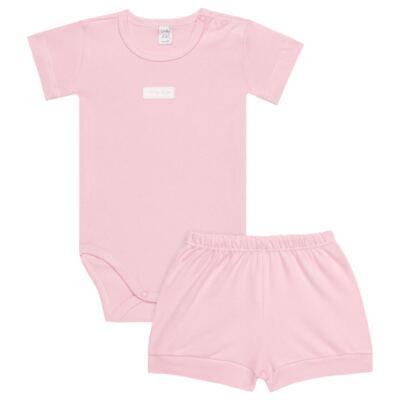 Imagem 1 do produto Body curto com Shorts para bebe em suedine Rosa - Vicky Lipe - CSH1376 CONJ. BODY M/C C/ SHORTS SUEDINE ROSA BB-1