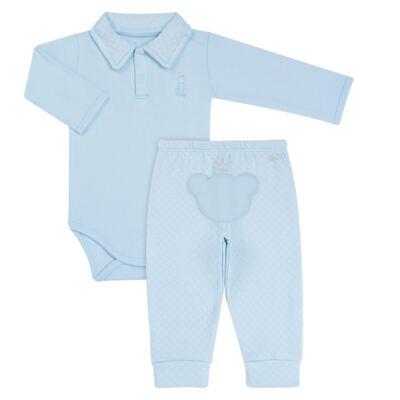 Imagem 1 do produto Body longo com Calça (mijão) em suedine Azul Matelassê - Grow Up - 01020218.0003 CONJ. PG BEAR FRIEND AZUL-M