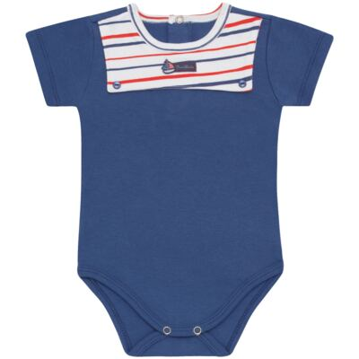 Imagem 1 do produto Body curto para bebe c/pala em Pima Cotton Supreme Sailor Boy - Mini & Kids - BCAF540 BODY MC COM ABER.FRONTAL SUEDINE-G