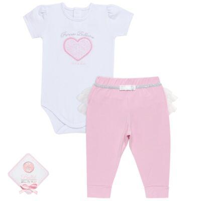 Imagem 1 do produto Body curto com Calça (mijão) para bebe em spandex Ballerine - Mini & Kids - CTU1356 BODY MC E MIJÃO C/BABADO TULE EXPAND BALLET-GG
